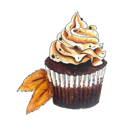 cappuccino: Cupcake vintage Hand Drawn sketch with Autumn leaves Stock Photo