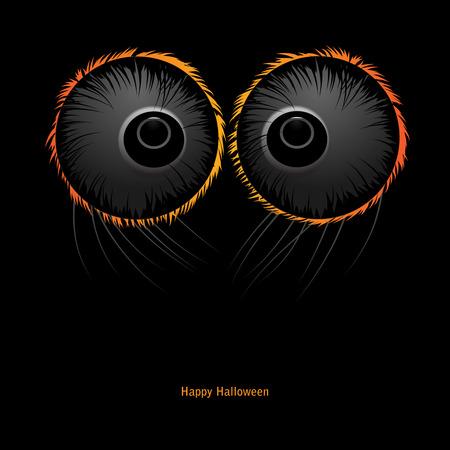brown eyes: Halloween Monster vector black background. Spider eyes