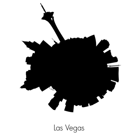 las vegas strip: Las Vegas Planet circular skyline silhouette. Vector illustration