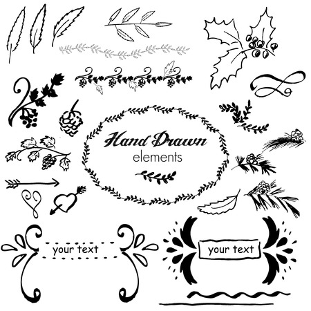 sketched arrows: collection hand-sketched vector element floral, grapes, arrows and frames Illustration