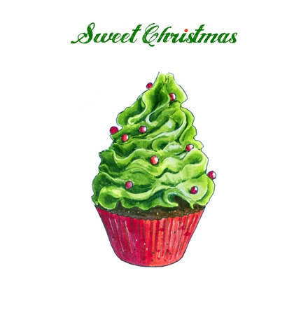 Christmas green Cupcake Hand Drawn sketch. Isolated on white Stock Photo