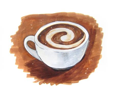vintage art: Latte art vintage sketch on brown background