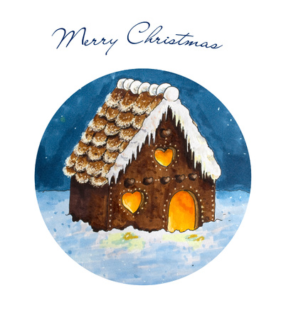 gingerbread house: Christmas decorated gingerbread house. Hand drawn sketch Stock Photo