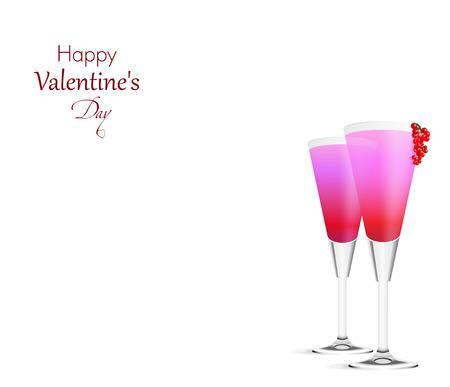 Romantische achtergrond met twee roze Cocktails