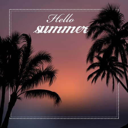 hush hush: Hello summer vector illustration with palm trees