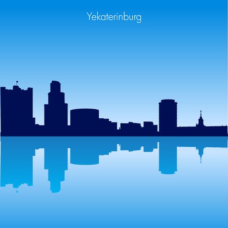famous industries: Detailed Vector skyline of Yekaterinburg with reflection.