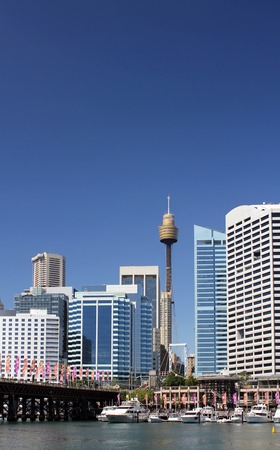 Sydney city center: Darling Harbour and Sky tower view Stock Photo