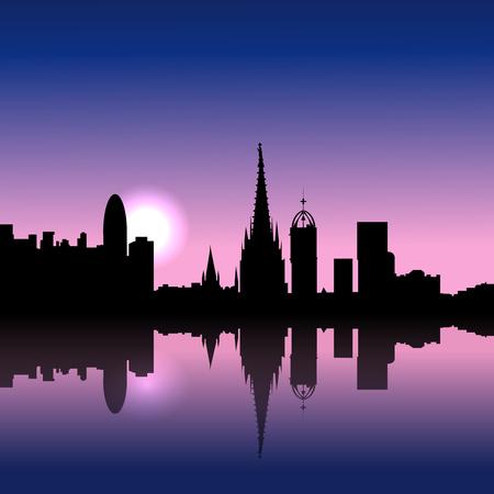 Barcelona Spain Sunrise skyline illustration