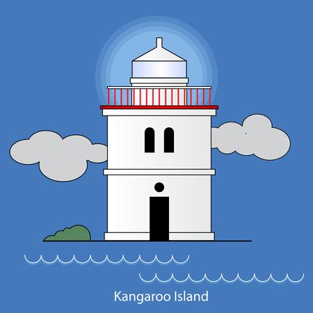 Kangaroo island - Australia lighthouse vector Illustration