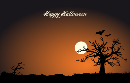 Halloween night vector banner with dead tree and moon