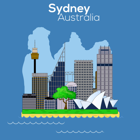 Sydney city icon, Architectural design, buildings, city scenes and landmarks