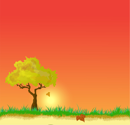 Beautiful, bright illustration landscape of tree and grasses.