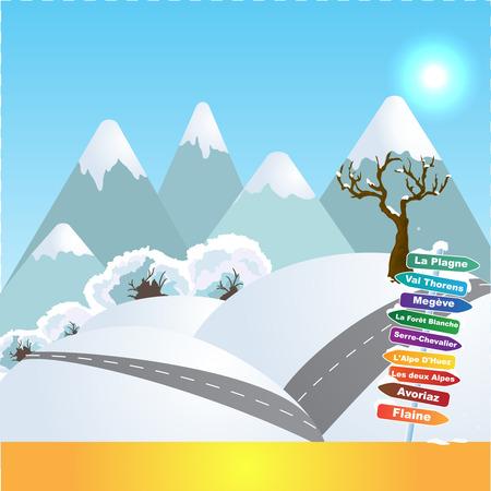 Sports d'hiver dans les Alpes françaises Banque d'images - 94791344