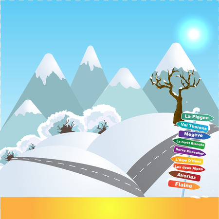 Wintersports in French Alps Stock Vector - 94791344