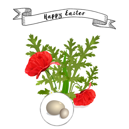 vector Easter floral background with poppies and eggs Vettoriali