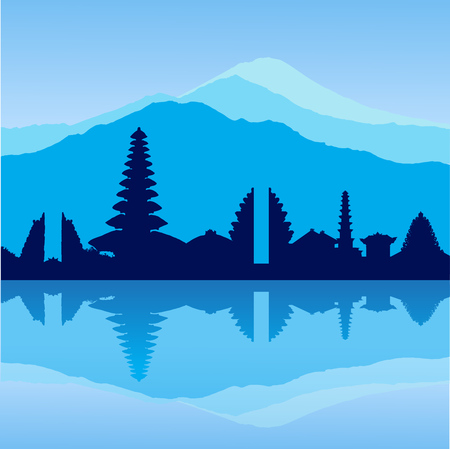 Vector Bali skyline Illustration