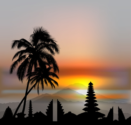 Vector Bali skyline with temples and three volcanos on sunset sky Banque d'images - 103905577
