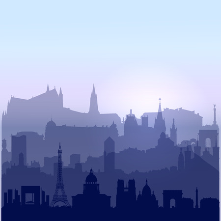 Patriotic 14 july background with biggest French cities silhouettes and sunrise sky