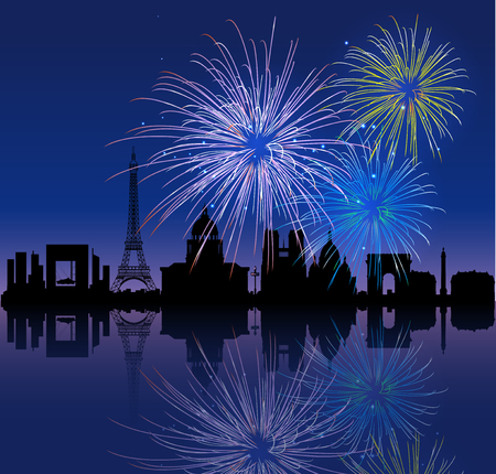 Patriotic 14 july background with biggest French cities silhouettes and fireworks