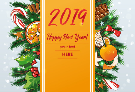 New Year vector editable Background . Sweets background Illustration