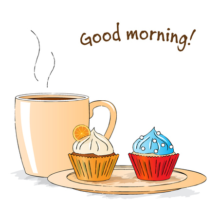 Vector illustration : Good morning snack with cupcakes and cap of tea