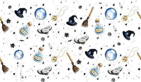 Ręcznie rysowane tła halloween z akcesoriami czarownic