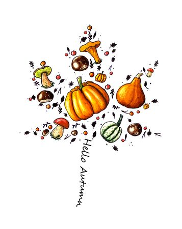 Hand sketched illustration with pumpkins, autumn fruites and mushrooms
