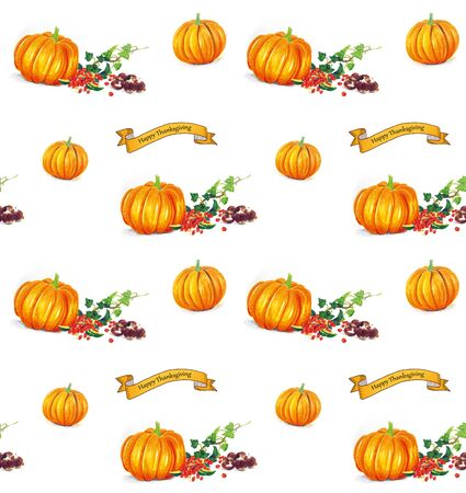 Hand sketched Thanksgiving seamless background with pumpkins Stock Photo