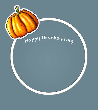 Thanksgiving circular background with Hand sketched pumpkin