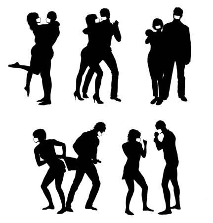 Set of Vector silhouettes of couple Wearing Mask . Life steps