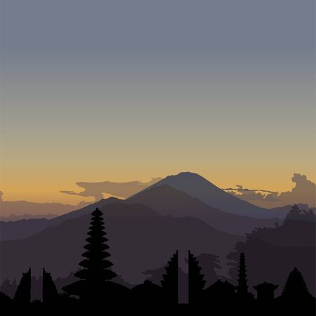 Kintamani, Bali sunrise illustration with skyline Ilustrace