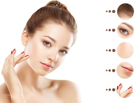 Portret vrouw met een probleem en duidelijke huid, jeugd make-up concept. Studio-opname. Geïsoleerd op wit. Stockfoto - 66116548