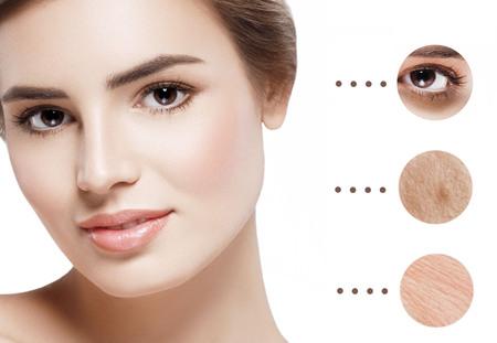 skin problem: Woman face with skin problem . Studio shot. Stock Photo