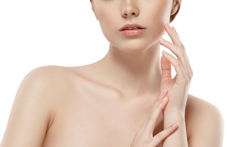 collarbone: Woman neck shoulder lips nose chin cheeks. Isolated on white. Studio shot. Stock Photo