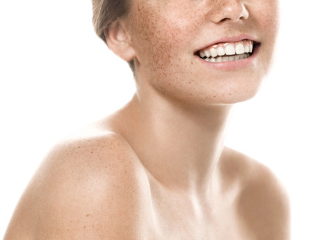mouth smile: Teeth smile mouth Young beautiful freckles woman face portrait with healthy skin. Studio shot.