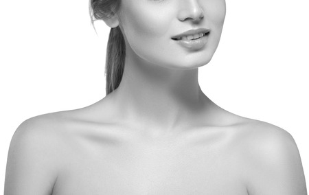 chin on hands: Shoulders neck chin hands Beautiful woman portrait face . isolated on white. black and white. Studio shot. Stock Photo