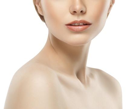 Woman neck shoulder lips nose chin cheeks. Studio shot. Banco de Imagens