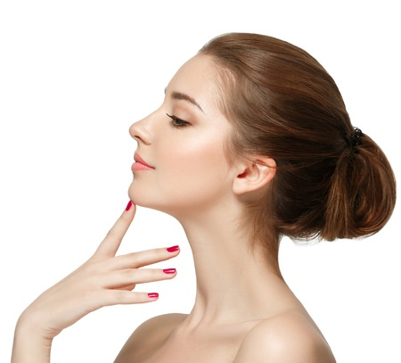 adult sexual: Smiling Girl Isolated on a White Background. Stock Photo
