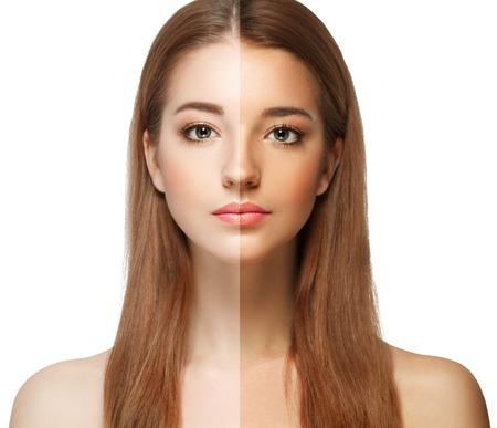 여자 탄 절반 얼굴 아름 다운 초상화 스프레이. 스튜디오 촬영. 스톡 콘텐츠
