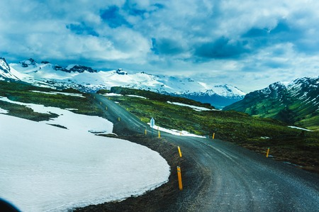 durty: Nature background beautiful landscape mountains road hills clouds Iceland. Outdoor. Stock Photo