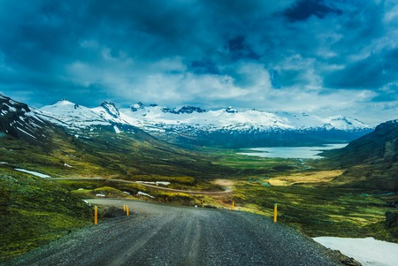 Nature background beautiful landscape mountains road hills clouds Iceland. Outdoor. Stock Photo