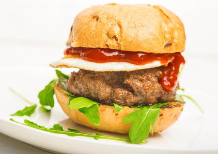 Hamburger. Close up view.