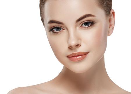 Young beautiful woman face close-up 版權商用圖片