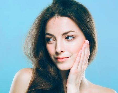 아름다움 여자 얼굴의 초상화. 스톡 콘텐츠
