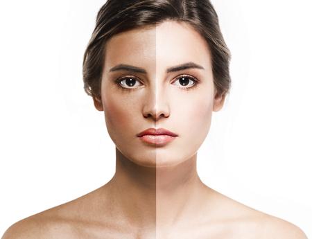 woman tan half face beautiful portrait. Studio.