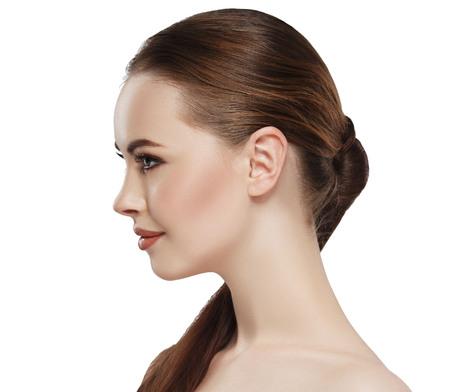 肌の美しさを持つ女性のプロフィール 写真素材