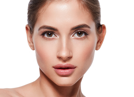 Beautiful woman closeup skin care healthy concept beauty portrait isolated on white Фото со стока