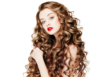 Beautiful people. Curly Hair Red Lipsq. Fashion Girl With Healthy Long Wavy Hair. Beauty Brunette Woman Portrait.Hair Extension, Permed Hair 写真素材