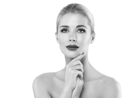 Woman headshot face blonde portrait closeup black and white. Studio shot. Stock Photo