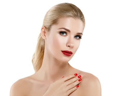 Woman nail manicure lipstick same color beauty portrait beautiful care. Isolated in white.